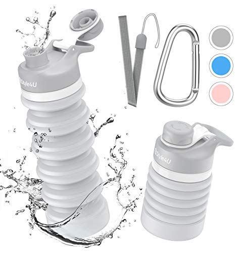 Collapsible Foldable Water Bottle - BPA Free FDA Approved Portable Reusable Leakproof Silicone Sports Travel Water Bottle for Outdoor, Gym, Hiking, Cycling with Wrist Lanyard and Carabiner (Gray)