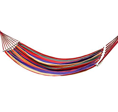 Vovoly Durable Hammock for Outdoor Garden Backyard Porch Bearing 330lbs With Straps and Portable Carrying Bag - High-quality: The dirt-proof and washable hammock made with high-quality cotton canvas fabric construction is air-permeable for easy cleanup and comfortable resting, which is being tightly woven, carefully stitching and high quality end-loops. Easy to be Cleaned and Dry Quikly. Hand Wash, Air Drying. Hassle Free Setup: easy and convenient to mount and tear down, simply hang the solid ropes to poles/ trees and your hammock, meanwhile you could adjust a perfect angle or sag for your comfy laying. Breathable and Durable: Supporting up to 330 lb (size: 74.8 * 31.5 in) and this hammock's decorative are braided with thickened strings for enhanced weight distribution. Two durable straps makes hammock more steady and safe. - patio-furniture, patio, hammocks - 41cSifwttrL -