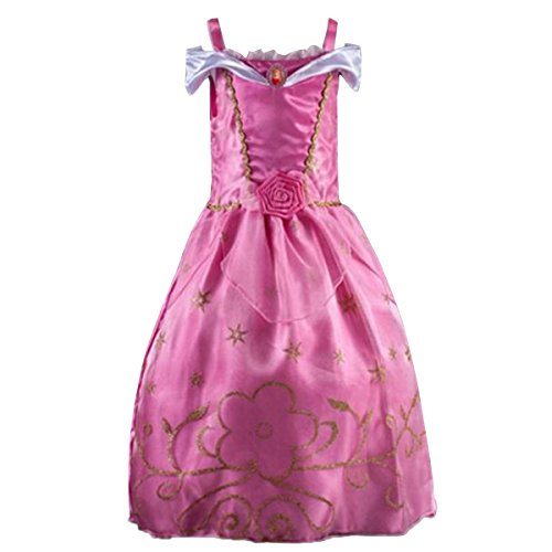 Quesera Girl's Princess Dress Costume Birthday Party Halloween Dress Up Outfit, Pink, Kids (Sleeping Beauty Costume Ideas)