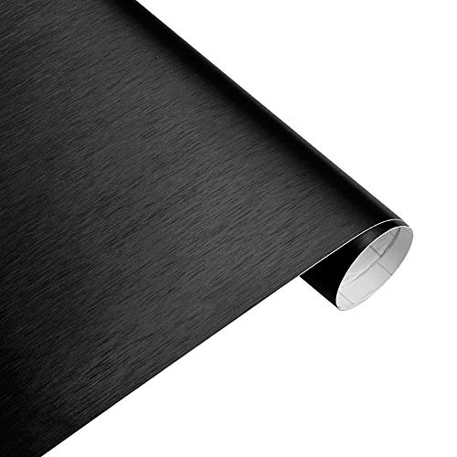 Sky-Town 50x200cm Brushed Vinyl Wrap Air Release-Matte Brushed Car Vinyl-Matte Brushed Car Wrap-Bubble Free Vinyl Matte-Vinyl Wrap Adhesive Car Sticker Decal Film- Automobile Decals Decor (Black)