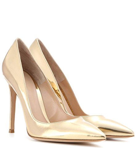 EDEFS Womens Pointed Toe Court Shoes Ladies Elegant High Heel Pumps Party Dress Shoes Gold QVGlR8H