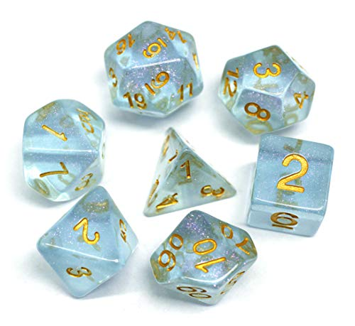 HD Polyhedral DND Dice Set RPG Dice Fit Dungeons and Dragons Pathfinder (Blue)]()