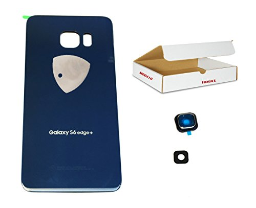 - (md0410) Black Sapphire Blue back door rear battery housing camera lens cover Compatible Galaxy S6 Edge Plus G928 replacement + adhesive + opening tool