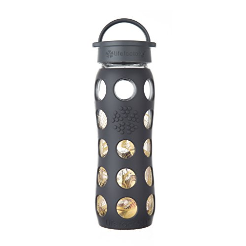 BPA-Free and Fused Gold Glass Water Bottle with Leakproof Classic Cap and Silicone Sleeve, Onyx Organic ()