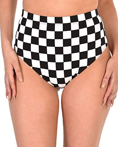 iHeartRaves Black & White Check On It Checkered High Waisted Bottoms (Medium) -