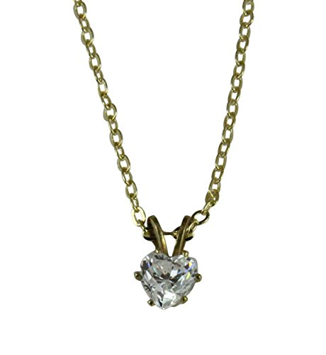 4031016 Brilliant 1 1/4 Carat Heart Shaped CZ Cubic Zirconia Solitaire Necklace with 18 Inch Chain