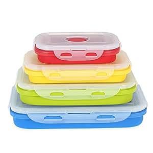 Anself - Juego de 4x Fiambreras de Silicona Plegables, 350ml Rojo+540ml Amarillo+800ml Verde+1200ml Azul (Para Microondas)