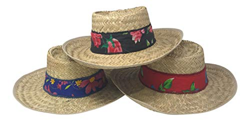 Chapeau Tribe Women's Gambler Straw Hat with Blue Black and Red Floral Band (3 Hats - Hat Red Gambler Straw