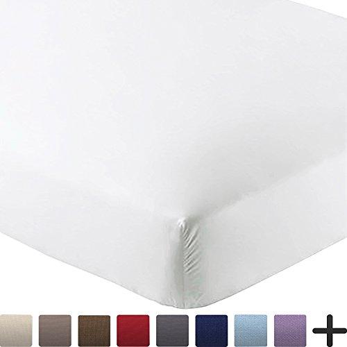 Bare Home Fitted Bottom Sheet Premium 1800 Ultra Soft Wrinkle Resistant  Microfiber, Hypoallergenic, Deep Pocket (Full XL, White)