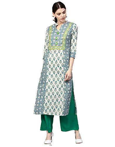 Jaipur Kurti Women Blue & Green Ethnic Motifs Straight Cotton Kurta With Palazzo (Suit Blue Salwar)