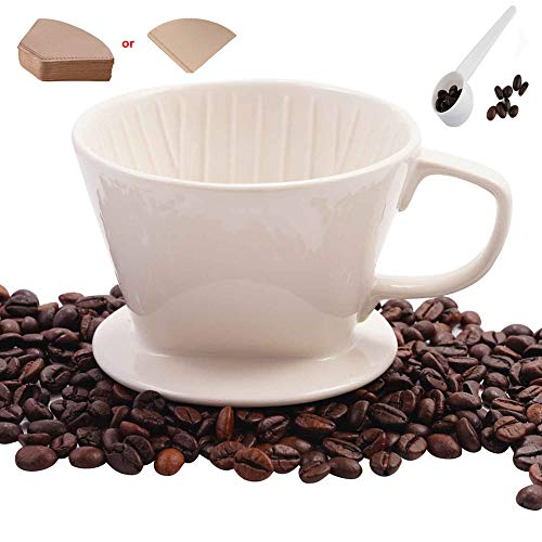 (Ceramic Porcelain Pour Over Coffee Dripper Filter Holder Manual Hand Coffee Dripper Cone Reusable for No. 2 or 4 Filters with Bonus Disposable Filters White by SOPRETY)