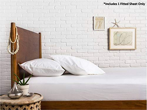 Mayfair Linen 100% Egyptian Cotton Sateen Weave 800 Thread Count Queen Fitted Sheet with Elastic All Around - Fits Mattress Upto 18 inches White