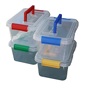 Captivating 4 X 3.5lt 3.5 Litre Plastic Storage Box Container With Clip On Lid And  Handle By CrazyGadget
