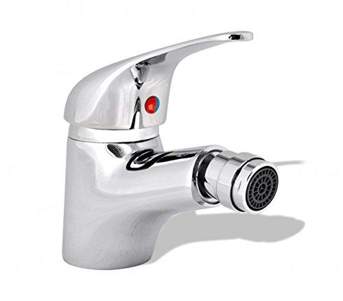 MEDIA WAVE store Miscelatore rubinetto bidet sfera Cromo con 2 tubi flessibili