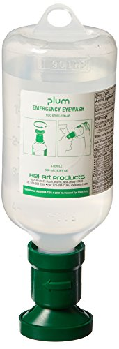 Bel-Art Products F24880-0053 Plum Eye Wash Refill with Sterile Saline Bottle, 500 mL (Pack of 3)