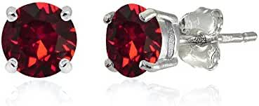Sterling Silver 5mm Round Prong-set Stud Earrings created with Swarovski Crystals