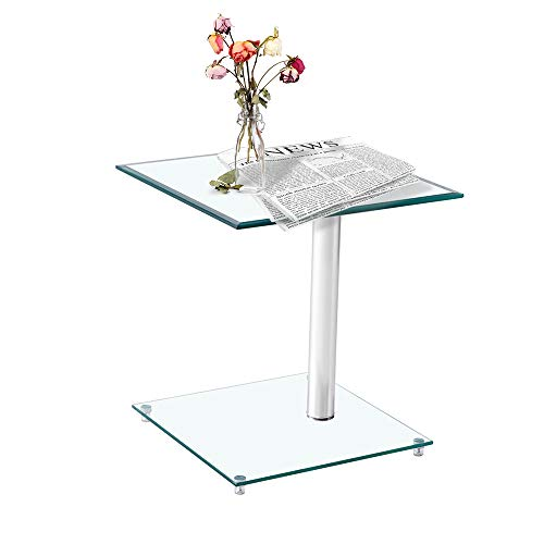 Kutti Modern Square Clear Tempered Glass Coffee Table, Saving Space and Practical, Side Table, Corner Table for Living Room, Bed Room