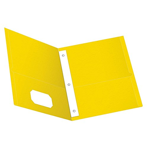Oxford Twin Pocket Folders with Fasteners, Letter Size, Yellow, 25 per Box (57709)
