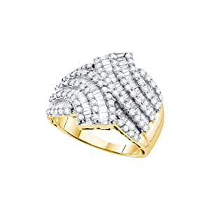 Size 12.5 - 14K Yellow Gold Large Diamond Cross Over Wedding , Anniversary OR Fashion Right Hand Ring Band - w/ Channel Invisible Set Round & Baguette Diamonds - (1.75 cttw)