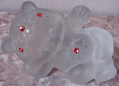 Fenton Reclining Bear Sand Carved Swarovski Gemstones Crystal Mist Solid Glass - Rosso (Fenton Crystal Bear)