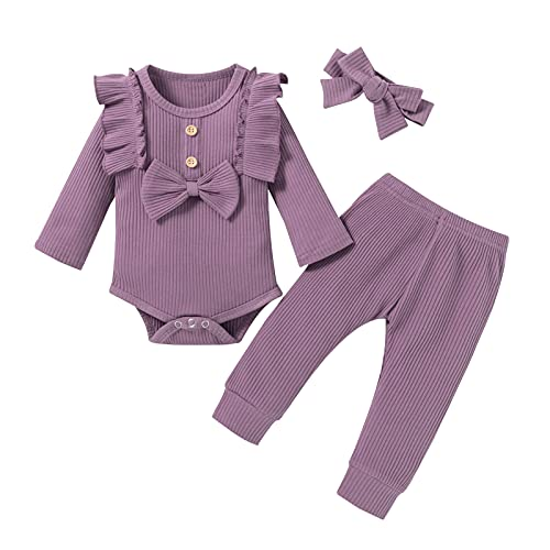 winter baby girl clothes 6-9 months 9-12 month fall autumn ribbed onesies sets outfits long sleeve bow purple lavender