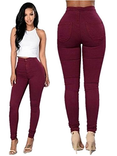 Denim Jeans Pants,Hemlock Women's Girl Casual Tight Leggings Skinny Zipper Trousers (XL, Red)