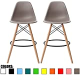 28 bar stools - 2xhome - Set of Two (2) - Grey / Taupe - 28
