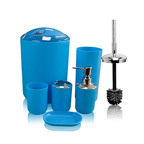 Soeland Blue Bathroom Accessries Set Complete, 6 Pieces Plastic Luxury Bath Vanity Countertop Accessory Set, Toothbrush Holder,Toothbrush Cup,Soap Dispenser,Soap Dish,Toilet Brush Holder,Trash Can (Accessories Cheap Set Bath)