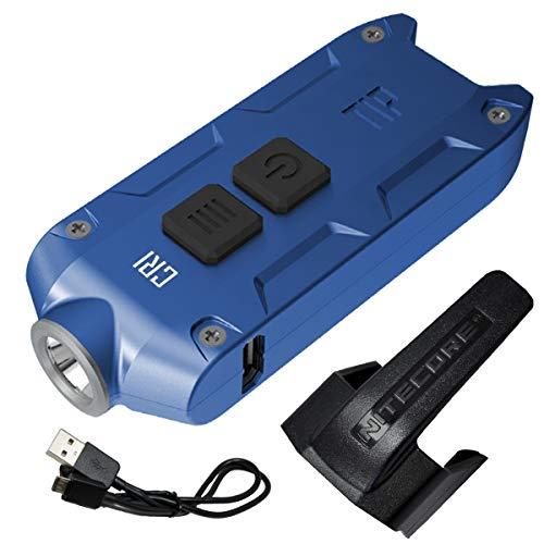 Nitecore TIP 2017 CRI Upgrade 240 Lumen USB Rechargeable Keychain Flashlight & LumenTac USB Charging Cable (Blue)