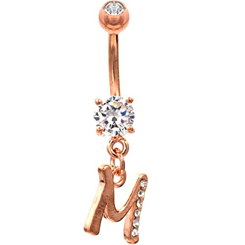 Initial Letter Clear Gem Dazzled Rose Gold-Tone Steel Belly Navel Ring (Letter M) ()