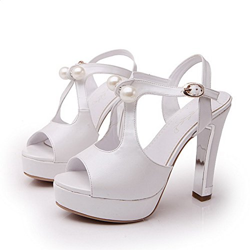 Amoonyfashion Mujeres Hebilla Tacones Altos Pu Sólido Peep Toe Sandals Blanco
