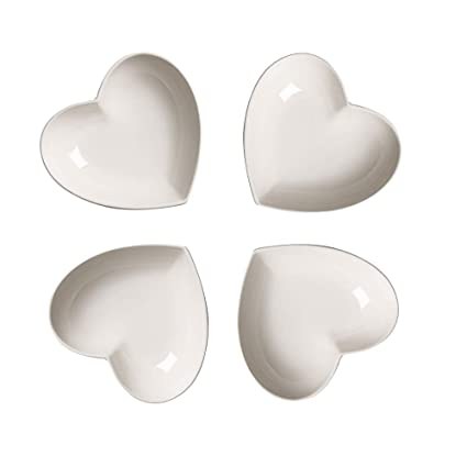 Super Cute heart sharpe Ceramic Sauce Dish,Mini Side Seasoning Dish,Condiment Dishes//Sushi Soy Dipping Bowl,Snack Serving Dishes,Love Porcelain Small Saucer Set Set of 4