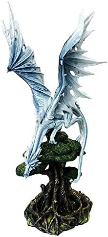 Ebros 22 Tall Large Arctic Frost Fury Dragon Perching On Rainforest Giant Tree Canopy Statue Medieval Renaissance Legends Dungeons and Dragons Fantasy Decor Figurine