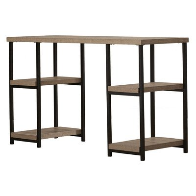 Double Pedestal Writing Desk With 4 Open Shelves, In Elegant Textured Sonoma Oak Finish, With Black Metal Accents That Brings A Modern Yet Classic Vibe To Your Room - Oak Double Pedestal Desk