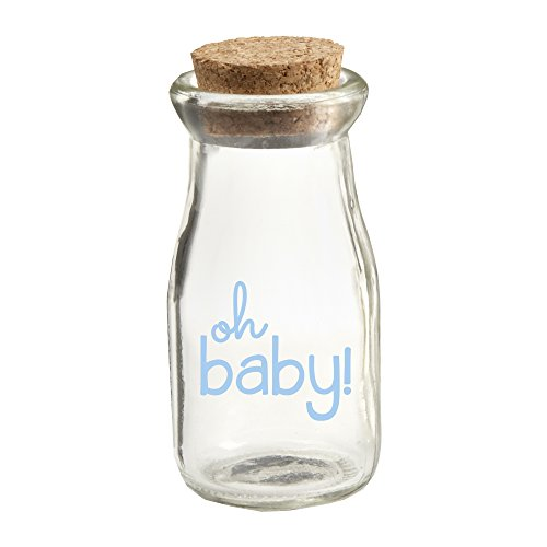 Kate Aspen Oh Baby Vintage Milk Favor Jar, Blue Pad Print, 12 Piece