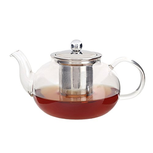 Glass Teapot Kettle with Infuser - Removable Stainless Steel Strainer Steeper and Lid for Loose Leaf and Blooming Tea - Strong Borosilicate Clear Glass Tea Pot - 700 ml / 24 Ounces by Foodie Aid -