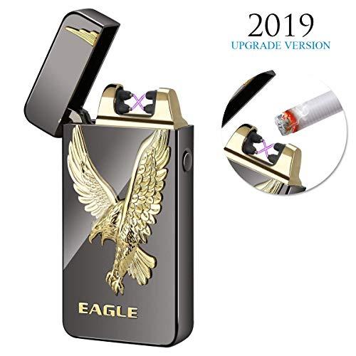 Kivors USB Rechargeable Flameless Electronic Dual Pulse Arc Cigarette Lighter Belief, Black Eagle - Cigarette Lighter Style