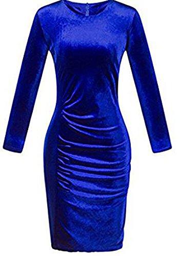 de Cuello Vestido Redondo Las Manga Fiesta Partido Bodycon Retro de Cambio Terciopelo Vestir Monika Delgado Mujeres Larga Oficina Vestidos Cóctel Fruncido de 7wzdPvdqxC