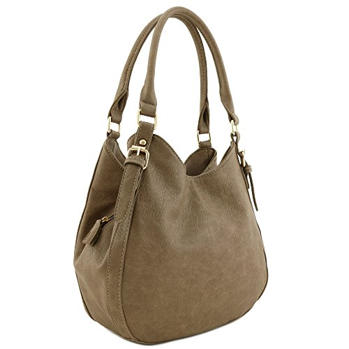 Light-weight 3 Compartment Faux Leather Medium Hobo Bag Stone ()