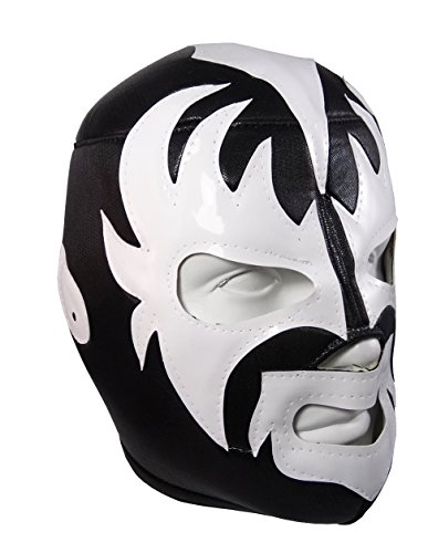 [KISS Adult Lucha Libre Wrestling Mask (pro-fit) Costume Wear - Black/White] (Wwe Wrestling Costumes For Adults)