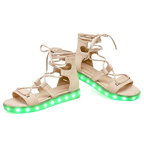 Eclimb Damesmode Led Light Up Shoes Casual Lichtgevende Sandalen Rijstkleur