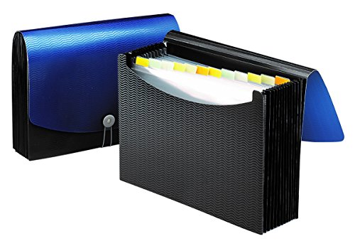 Smead Poly Frequency Expanding File, 12 Pockets, Flap and Cord Closure, Letter Size, Blue/Black (70863)