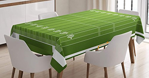 (BoloHome Football Cotton Linen Tablecloth 53x53inch, Sports Field in Green Gridiron Yard Competitive Games College Teamwork Superbowl Green White, Table Covers for Dinning Wedding Banquet)