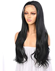 Heat Resistant Synthetic Hair Middle Front Lace Women Wig 24 Inches Natural Straight Hair Human Hair Density,Hand Made Glue-less Wig