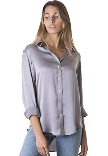 Silk Charmeuse Pants (CAMIXA Women's 100% Pure Satin Charmeuse Silk Loose Button-down Shirt Be Noticed XL Pearl Grey)