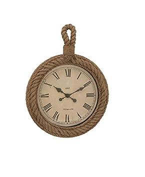 Deco 79 68572 Wood Rope Wall Clock, 19 x 27