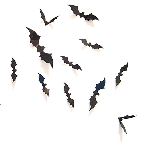 PENGYGY 12pcs Black 3D DIY PVC Bat Wall Sticker Decal Home Halloween Decoration wall sticker Home Decor Gifts (Black) -