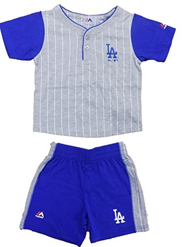 Los Angeles Dodgers Short (Los Angeles Dodgers Blue Grey Stripe Batter Up Kids T-Shirt & Shorts Set (Medium 5/6))