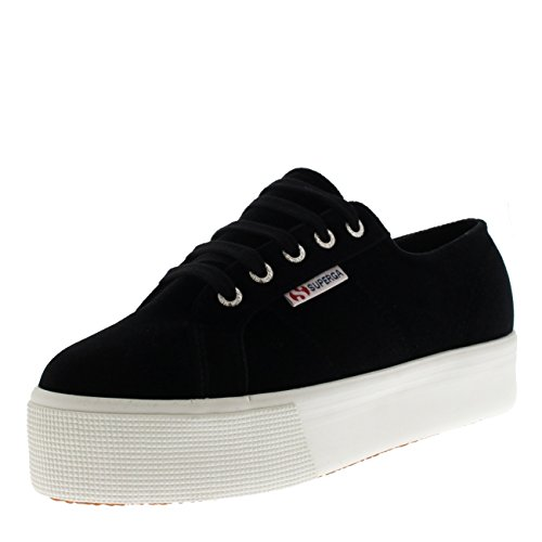 Dames Superga 2790 Baskets Velvetchenillew, Noir