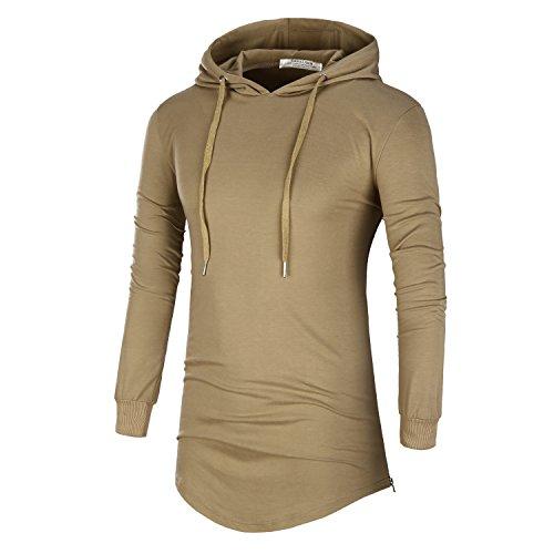 DAVID.ANN Mens Hipster Hip Hop Pullover Longline Side Zipper Long Sleeve Hooded T Shirt